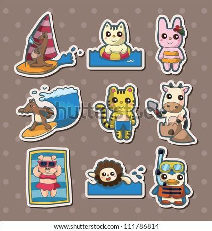 summer animal stickers - stock vector