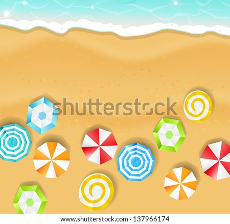 summer background - a beach with umbrellas, sand and the sea - stock vector
