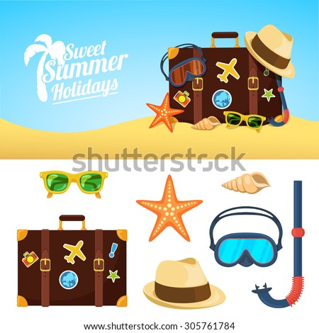 Summer background and icons. Tropic vacation backdrop design. Holiday accessories symbols set. - stock vector