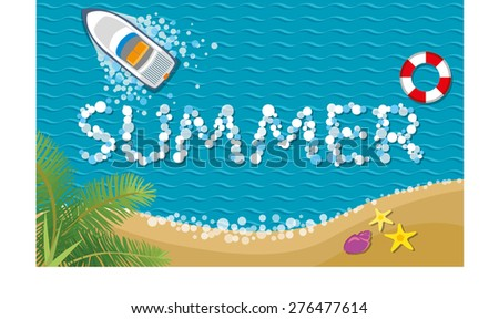 Summer background or Summer tropical banner.Vector illustration.