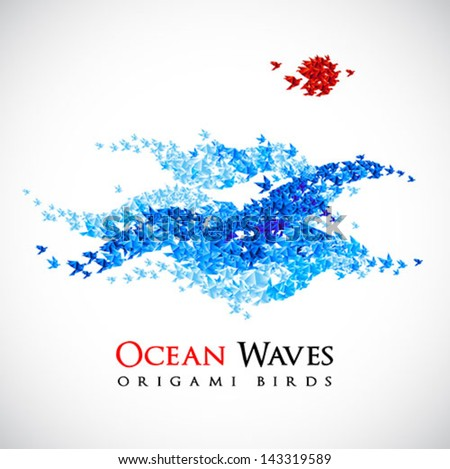 summer background - origami ocean waves shaped from flying paper birds - vector