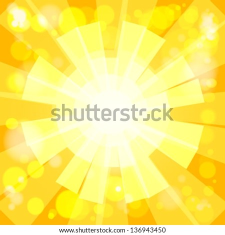 Summer Background. Shiny sunbeams, vector. - stock vector