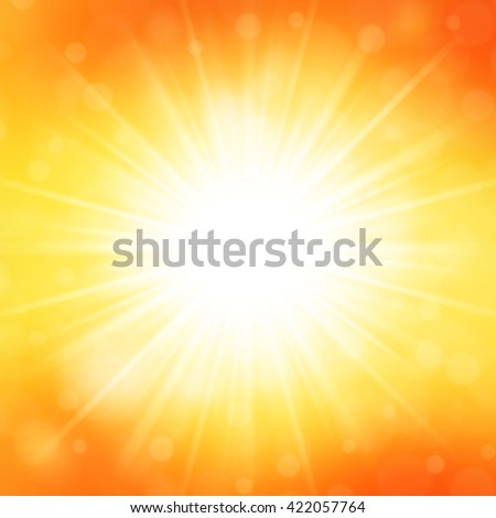 Summer Background Sky and Sun Light with Lens Flare, Beach Landscape Tropical Sea Vector Illustration.