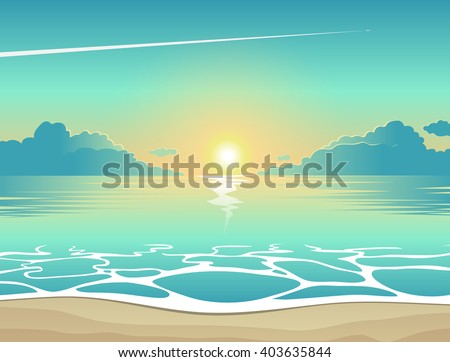Summer background, vector illustration of the evening beach at sunset with waves, clouds and a plane flying in the sky, seaside view poster - stock vector