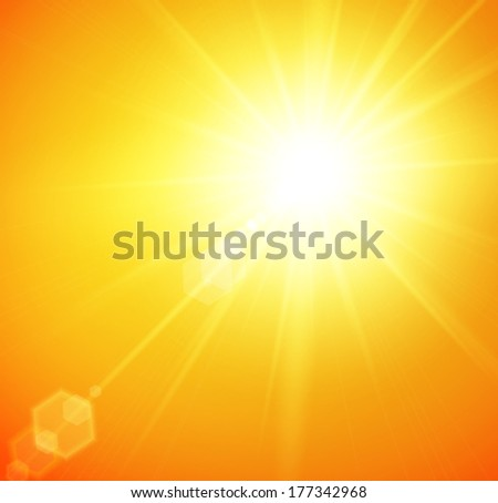 Summer background with a magnificent summer sun burst with lens flare. Vector illustration.