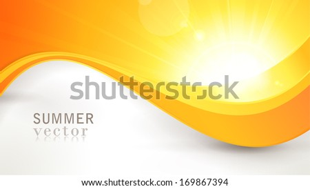 Summer background with a magnificent vector sun burst with lens flare and wavy lines pattern in bright orange and yellow colors. - stock vector