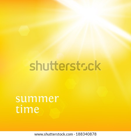 Summer background with a summer sun burst. Vector illustration.  - stock vector