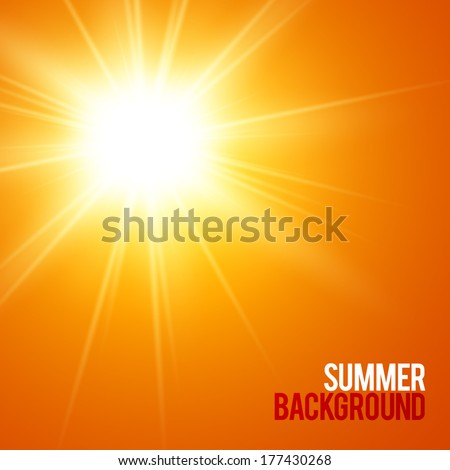 Summer background with a summer sun burst with lens flare. Vector illustration.