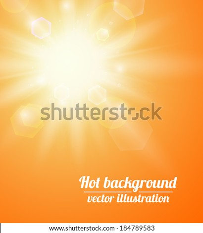 Summer background with a sun. Vector illustration