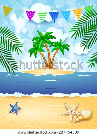 Summer background with festoon and tropical island, vector illustration  - stock vector