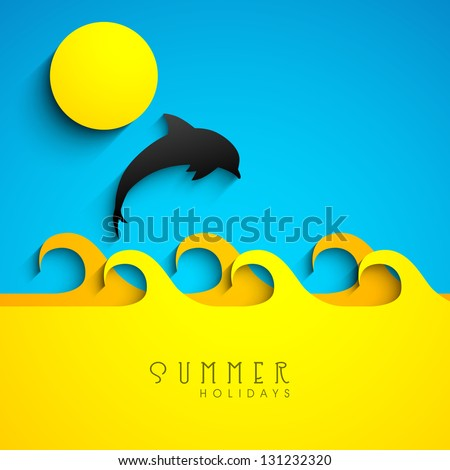 Summer background with fish jumping out from water. - stock vector