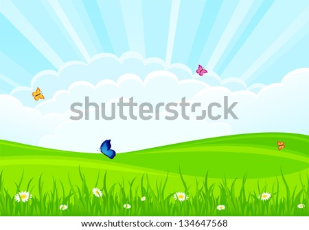 Summer background with flowers and butterflies, illustration. - stock vector