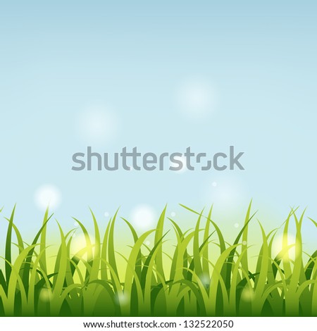 Summer background with grass. - stock vector