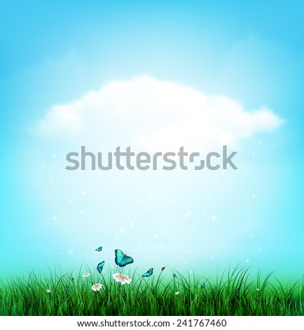 Summer Background With Grass, Flower And Butterflies - stock vector