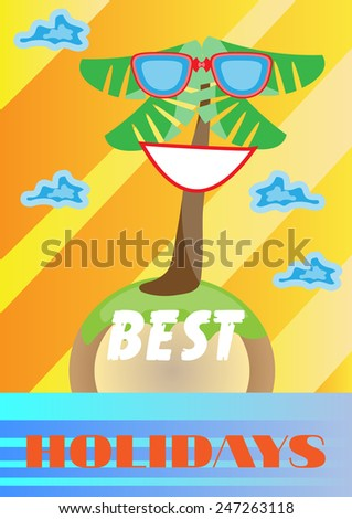 Summer background with island and palm tree - stock vector
