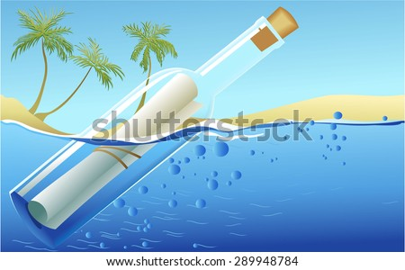 Summer background with message in the  bottle - stock vector