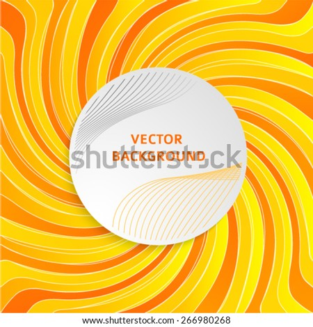 Summer background with orange yellow rays summer sun hot swirl with space for your message. Vector illustration EPS 10 for design presentation, brochure layout page, packing label - stock vector