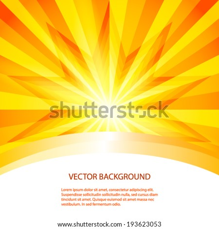 Summer background with orange yellow rays summer sun light burst. Hot with space for your message. Vector illustration EPS 10 for design presentation / brochure layout page / cover book or magazine