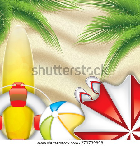Summer background with palm leaves, surfboard, parasol and beach ball on the beach - vector background - stock vector
