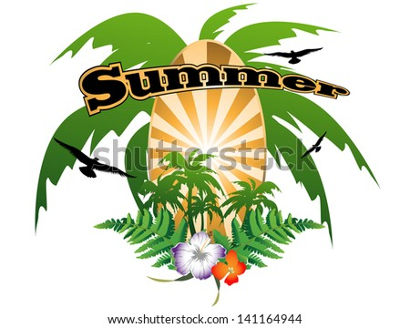 summer background with palm trees and flowers