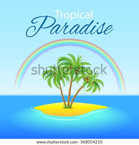 Summer background with Palm trees and Rainbow on Paradise island
