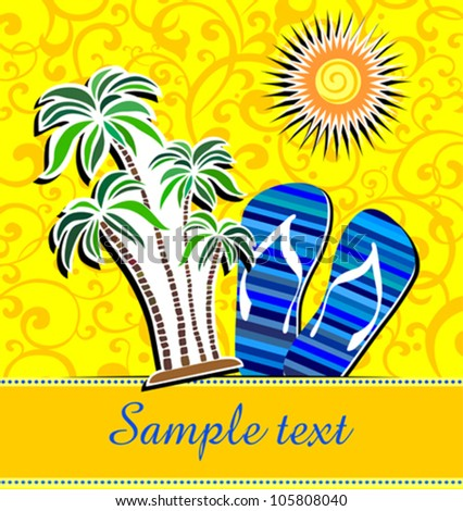 Summer background with palm trees, sun and place for your text. Vector Illustration - stock vector