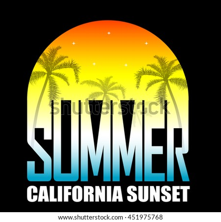 Summer background with palms and stars on sunset. Concept of leisure travel - stock vector