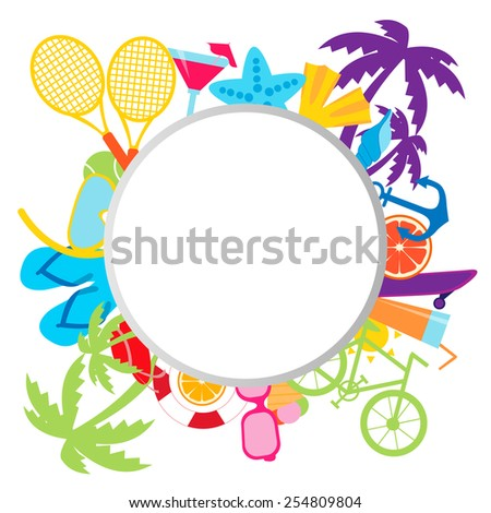 Summer background with place for text. Sports and beach accessories. Vector illustration - stock vector
