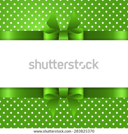 Summer background with polka dots, with a green bow and place for text - stock vector