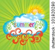 Summer background with sun and cloud - stock vector