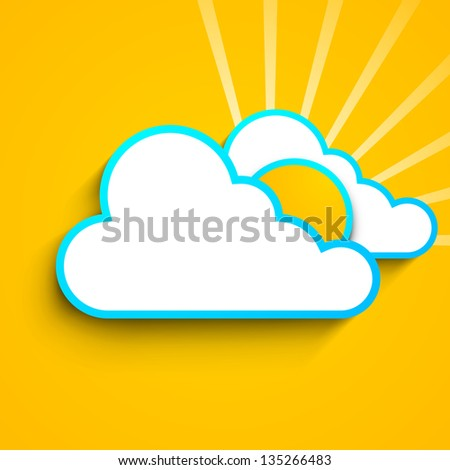 Summer background with sun in clouds on yellow background.