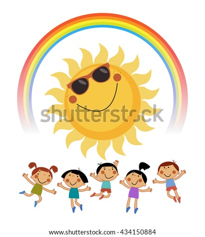 Summer background with sun, rainbow and Happy children. File is saved in 10 EPS version.