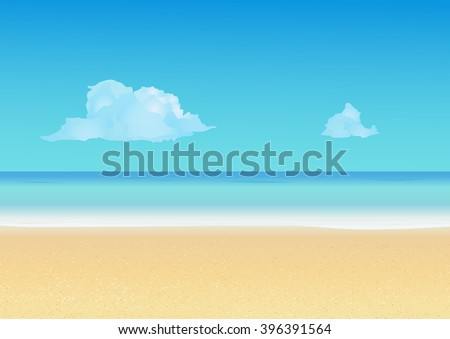 Summer background with tropical beach. Summer vacation, seashore resort, travel background. Vector illustration - stock vector