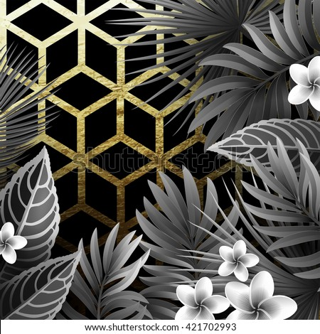 Summer Background with Tropical Exotic Leaves, Branches and Gold Geometric Pattern. Vintage Black and White Retro Movies Style.