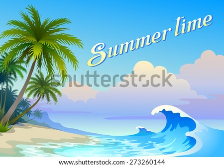 Summer background with waves - stock vector