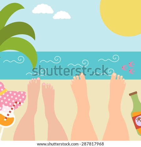 Summer background with with resting marital or couple in love at the seaside. Relax near the ocean. Vector illustration - stock vector