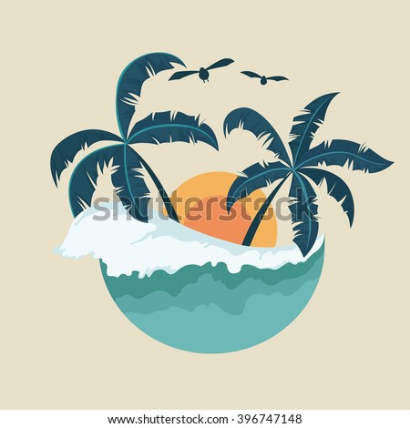 Summer Badge With Wave Palm Tree and Sunset - stock vector