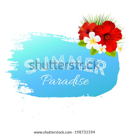 Summer Banner Blot For Design, With Gradient Mesh, Vector Illustration - stock vector