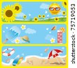 Summer banner set. Illustration vector. - stock vector