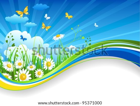 Summer banner with chamomiles and clouds - stock vector