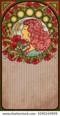 Summer banner with girl in art nouveau style, vector illustration