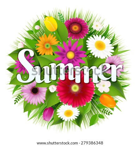 Summer Banner With Gradient Mesh, Vector Illustration - stock vector