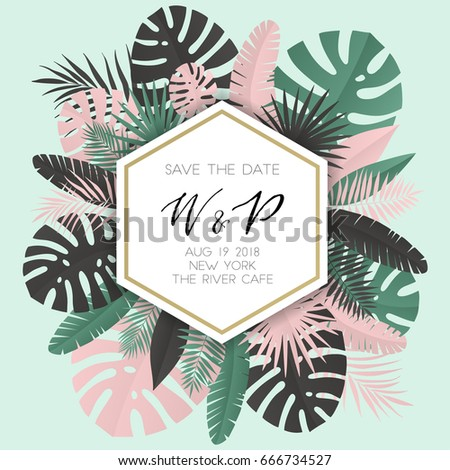 Summer banner with paper tropical leaf. Vector illustration