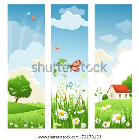 Summer banners - stock vector
