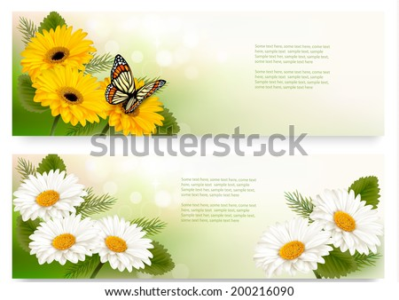 Summer banners with colorful flowers and butterfly. Vector. - stock vector
