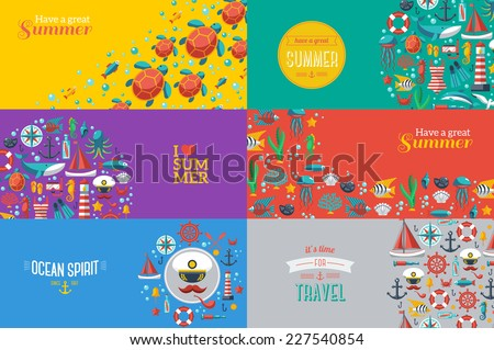 Summer Banners with marine symbols. Vector illustration. I love summer. Summer concept. Sea leisure sport. - stock vector