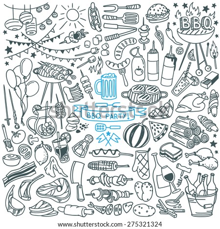 Summer  barbecue backyard party doodle set. Various meals, drinks, ingredients and decoration elements.  Vector illustration isolated over white background.