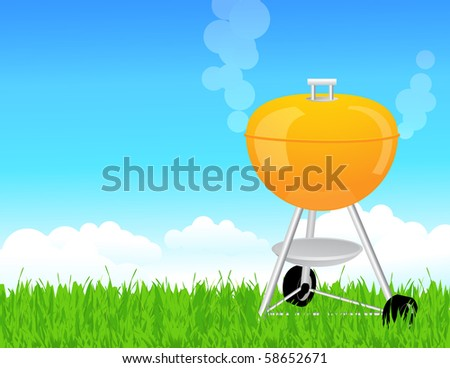 Summer barbeque, vector illustration - stock vector