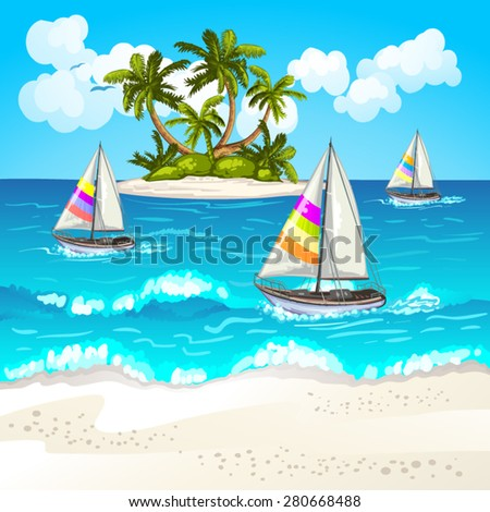 Summer beach - stock vector