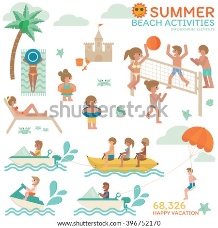 Summer Beach Activities Happy Vacation With Family Friends Relaxing On Holiday Volleyball